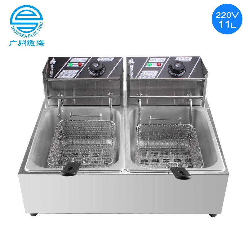 220V多功能电炸锅双锅型