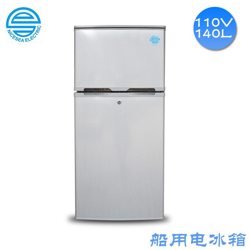 110V电冰箱船用双门冷冻冷藏冰箱140L